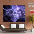 Fantasy Landscape Mushrooms Artwork HUGE GIANT Print Poster