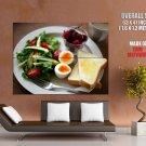 Breakfast Toasts Eggs Macro Food HUGE GIANT Print Poster