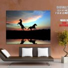 Silhouette Horses Sunset Nature HUGE GIANT Print Poster