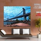New York City Nyc Manhattan Bridge Huge Giant Print Poster