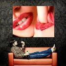Close Up Lips Leaking Finger Hot Sexy Huge 47x35 Print POSTER