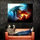Dragon Fantasy Fire Knight Art Huge 47x35 Print POSTER