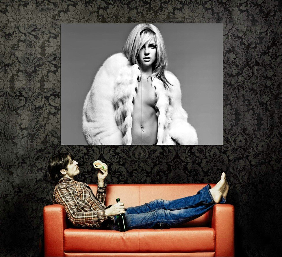 Britney Spears Topless Hot Sexy BW Music Huge 47x35 Print POSTER