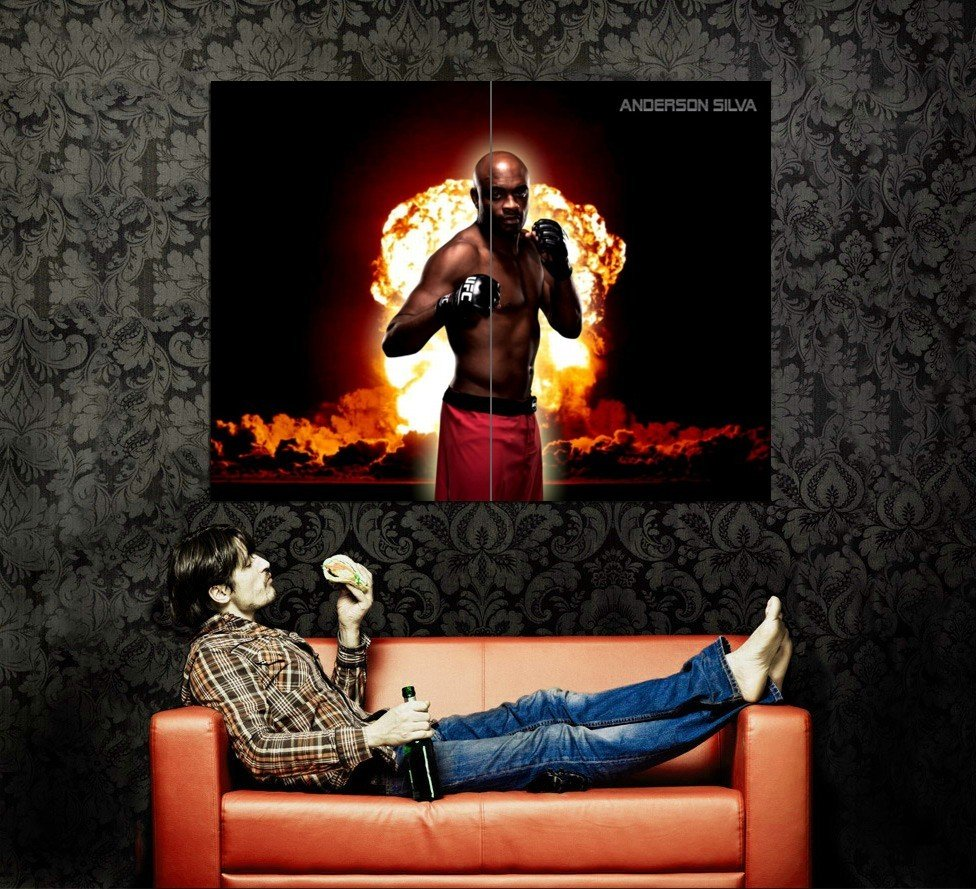 Anderson Silva Nuclear Cloud Spider MMA Mixed Martial Arts Huge 47x35 POSTER