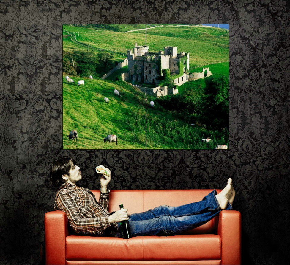 Clifden Castle Ireland Grass Sheeps Around The World Huge 47x35 POSTER