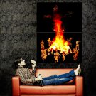 Native American Spirits Campfire Night Indians Huge 47x35 POSTER