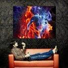 Hot Flame Fire Kiss Rendering Art Huge 47x35 Print POSTER
