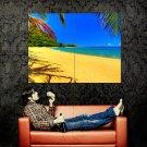 Beach Seashore Palms Sand Nature Huge 47x35 Print POSTER