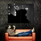 Black Cat Silhouette BW Animal Huge 47x35 Print POSTER