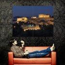 Acropolis Of Athens Night Lights Huge 47x35 Print Poster