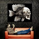 Skull Fish Bone Creative Art Huge 47x35 Print Poster