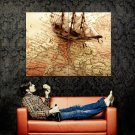 Old Europe Map Sailing Ship Huge 47x35 Print Poster