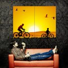 Bicycle Silhouettes Vector Art Sunset Huge 47x35 Print Poster