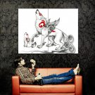Okami Wolf Spirit Japanese Drawing Art Huge 47x35 Print Poster