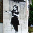 Girl Umbrella Rain Banksy Graffiti Street Art 32x24 Print POSTER