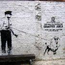 Police Poodle Graffiti Area Dog Banksy Street Art 32x24 Print POSTER