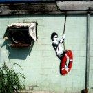 Boy Swinging Banksy Graffiti Street Art 32x24 Print POSTER