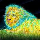 Colorful Lion Night Animal Art 32x24 Print POSTER