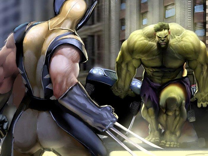 Wolverine Vs Hulk Marvel Comics Art 32x24 Print POSTER