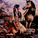 Native American Woman Horse Nature Art Indians 32x24 POSTER