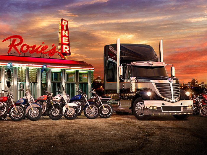 Rosie S Diner Truck Bikes Sunset Neon Lights Art 32x24 POSTER