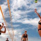 Beach Volleyball Blue Sky Sport 32x24 Print POSTER