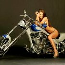 Sexy Girl Chopper Cruiser Custom Bike 32x24 Print POSTER