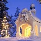Christmas Church Snow Lights 32x24 Print POSTER