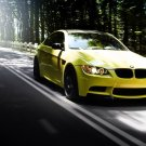 Bmw M3 Yellow Car Road Auto 32x24 Print Poster