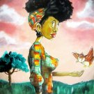 African American Woman Painting Art Vintage 32x24 Print Poster