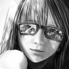 Beautiful Anime Girl BW Portrait Drawing Art 32x24 Print Poster