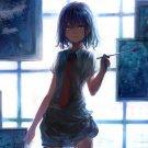 Anime Girl Paiting Drawing Art 32x24 Print Poster