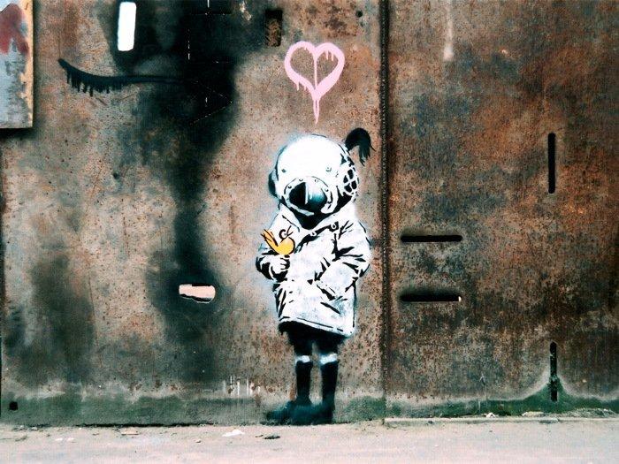 Little Girl Scuba Banksy Graffiti Street Art 16x12 Print POSTER