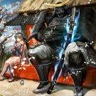 Samurai Warrior Katana Anime Girl Art 16x12 Print POSTER