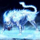 White Flame Tiger Fire Fantasy Art 16x12 Print POSTER