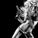 Hot Girl Sexy Body Revolver Weapon 16x12 Print POSTER