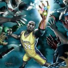 Kobe Bryant Superhero LA Lakers NBA 16x12 Print Poster
