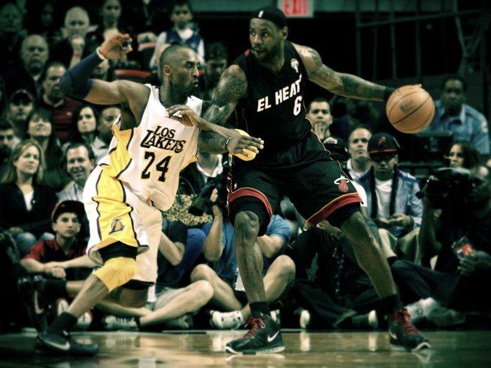 Kobe Bryant Vs Lebron James NBA 16x12 Print Poster