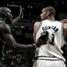 Tim Duncan Vs Kevin Garnett NBA 16x12 Print Poster