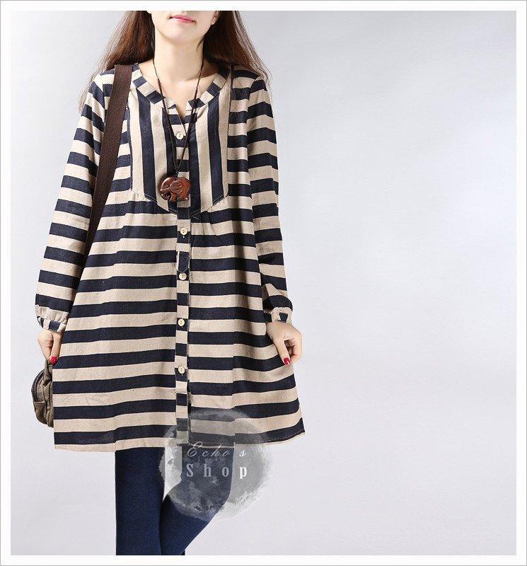 Casual Loose Linen Top Linen Dress Long Sleeve Cotton Dress Tunic Dress