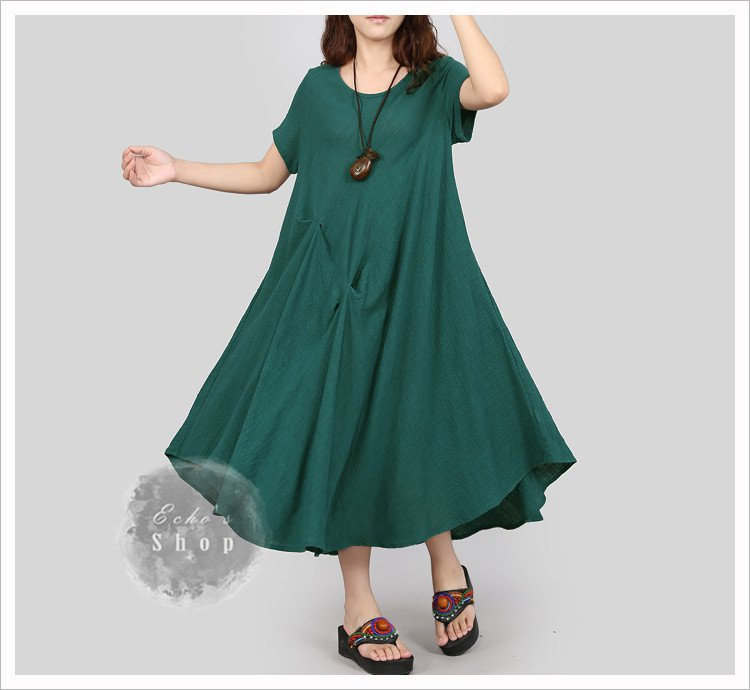 Women Summer Long Dress Linen Cotton Dress Plus Size Dress