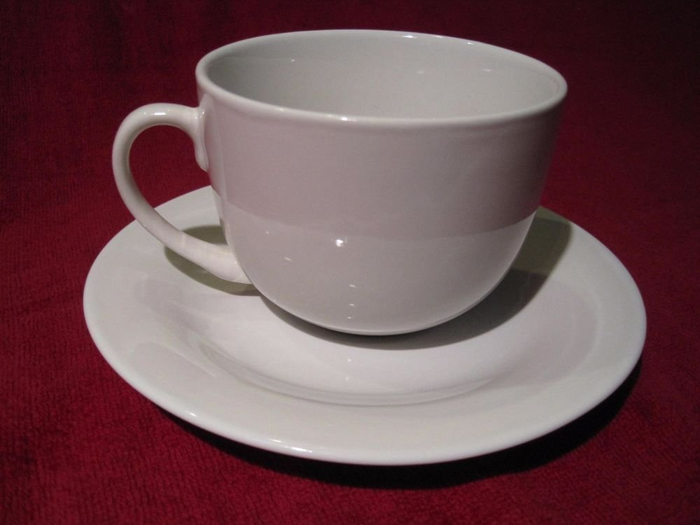 New Martha Stewart Everyday CLASSIC SOLID WHITE Cup & Saucer Teacup Coffee Mug