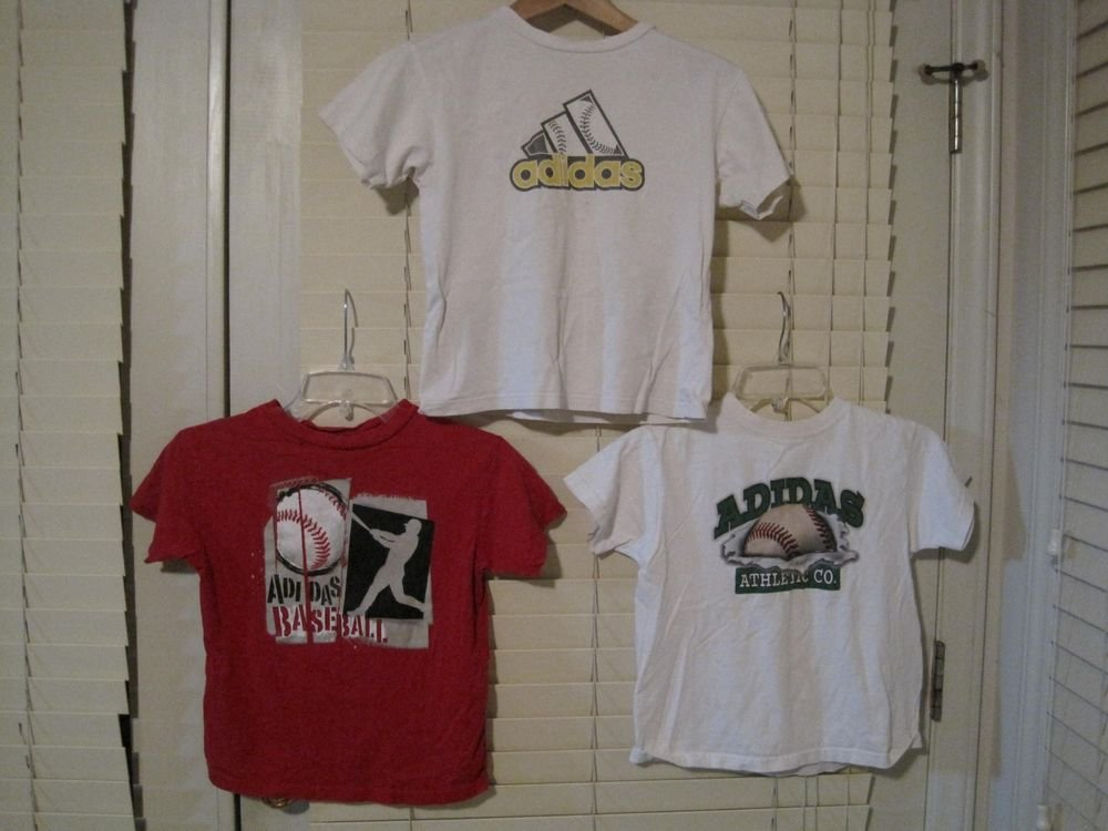 Lot of 3 Boys Adidas Baseball Cotton Short Sleeve Tee Shirts Size 7/7x Red/White