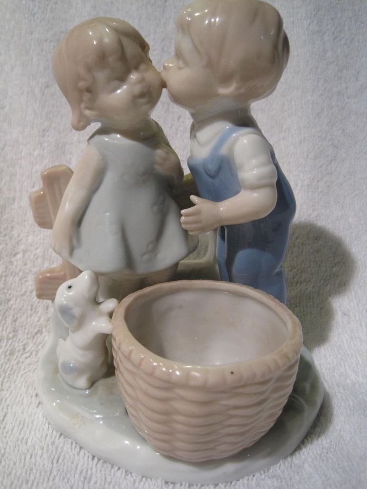 Vintage Colonial Candle Japan Boy/Girl Kissing Figurine Candle Holder Puppy
