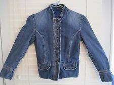 Vintage 1990's GAP Denim Blue Bolero Collar Mandarin Style Jacket Size 0