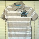 Cherokee Boys Ultimate Polo Style Shirt Size Large L Khaki/White Striped