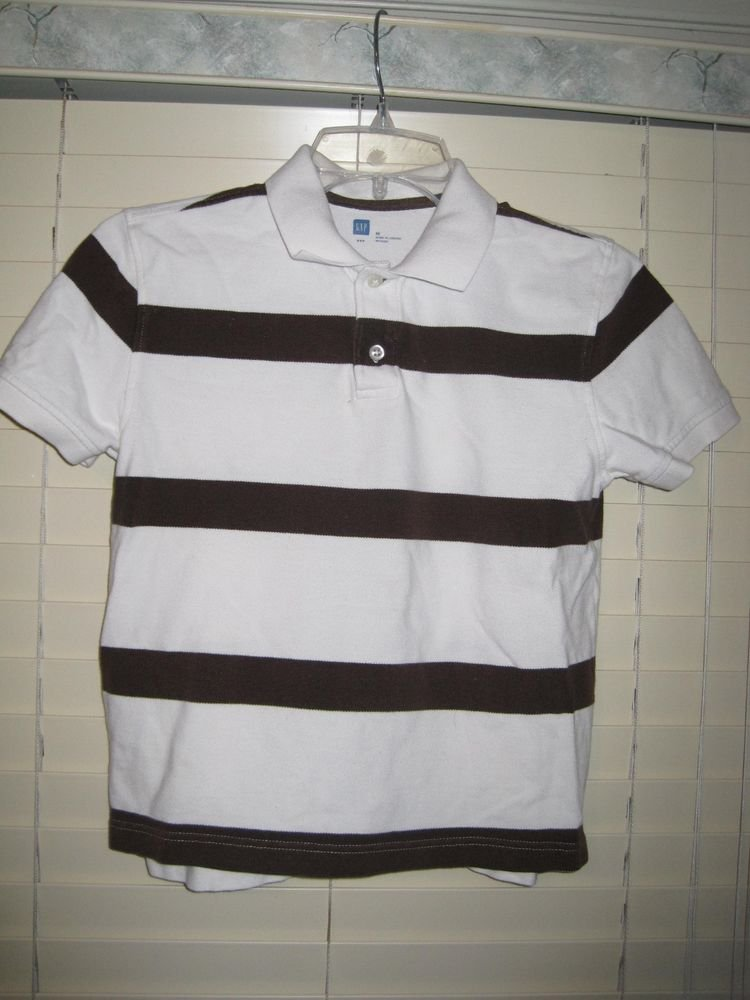 GAP Boys Polo Style Shirt Size M Medium Brown & White Striped Stripes