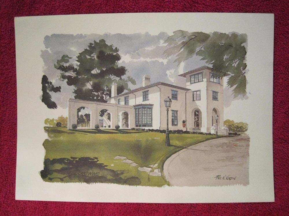 "Paul N Norton Watercolor Print Blandwood Mansion 12"" x 17"""