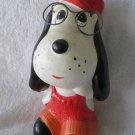 Vintage Chalkware Glasses wearing Puppy Dog Piggy Bank Red Fair Carnival Ceramic