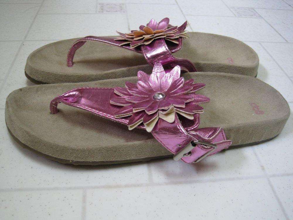 Gap Flower Girl Thong Flip Flops Womens Relaxed Fit Sandal Size 5 Ruffle Pink